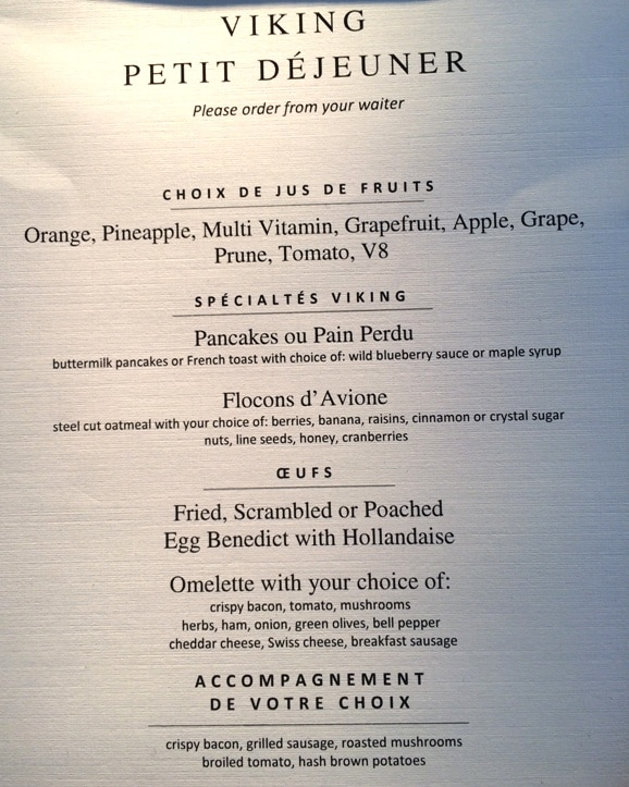 Viking River Cruises Breakfast menu
