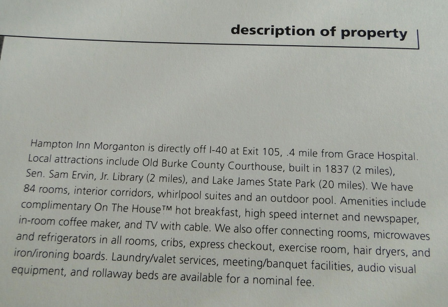Hampton Inn Morganton Description