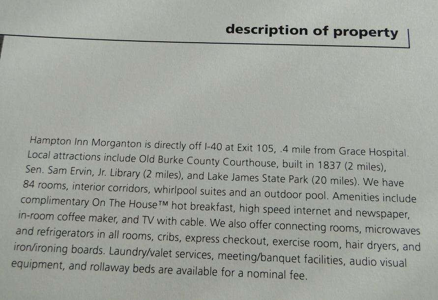 Hampton Inn Morganton Description