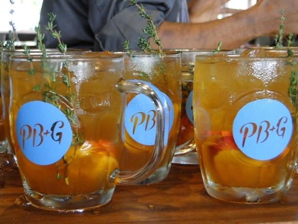peach thyme cocktails