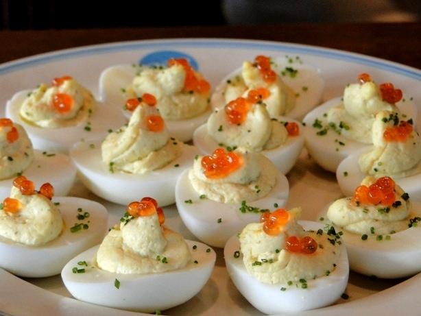 deviled eggs three ways with caviar