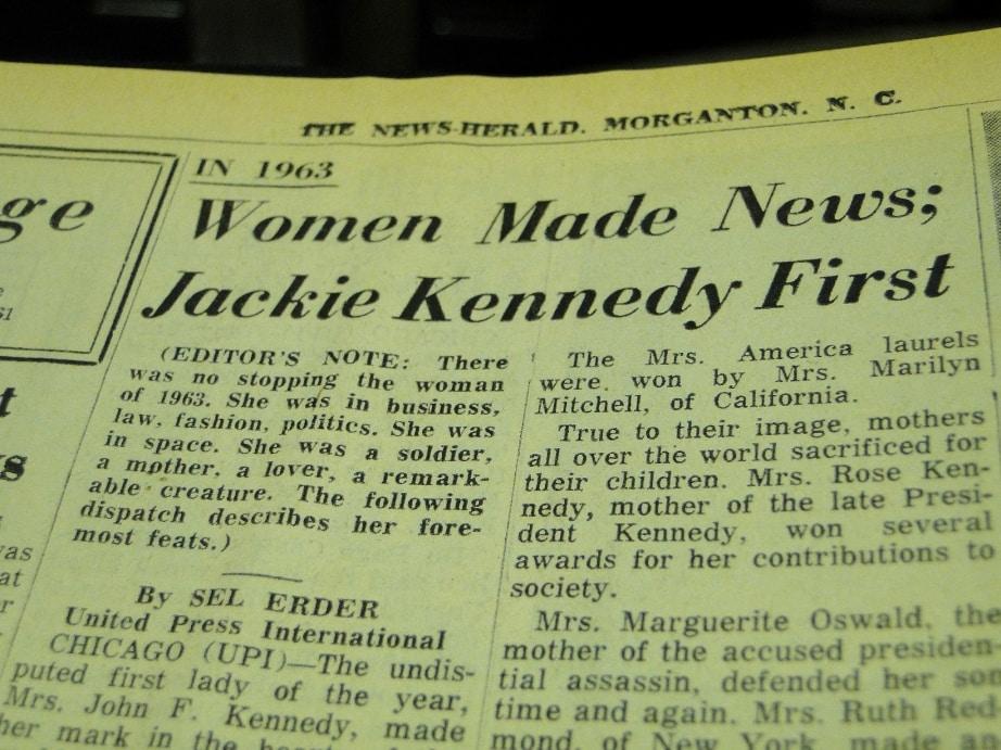 women in newspaper 1963