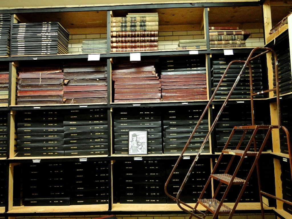 stacks of newspapers archive