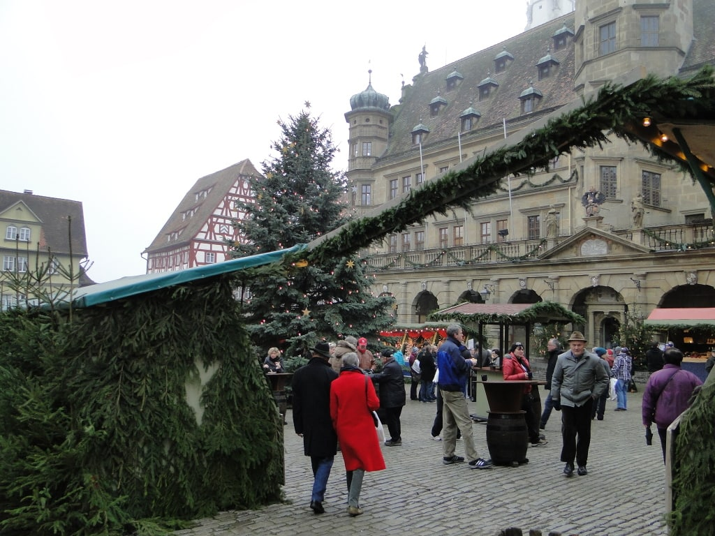 Entering Rothenburg, Germany's Christmas market.