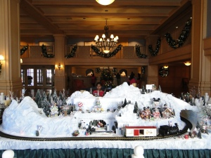 Disney's Yacht Club Christmas Decorations With a Mickey Christmas Village
