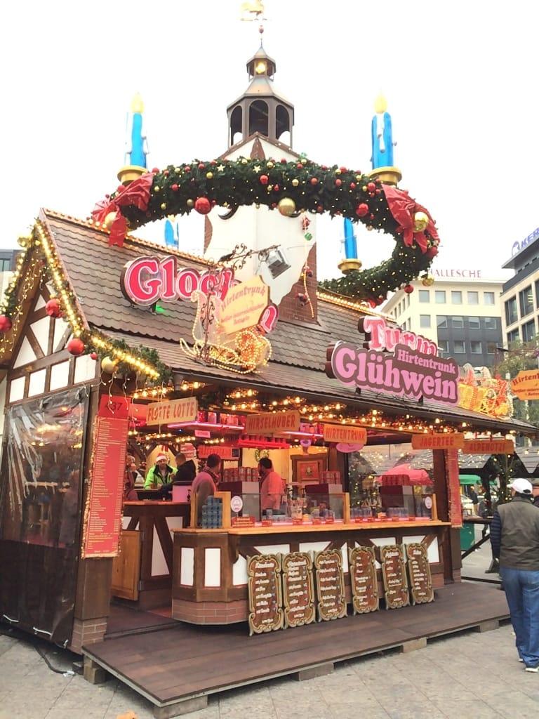 A shop selling gluhwein in Frankfurt, Germany's Christmas market.