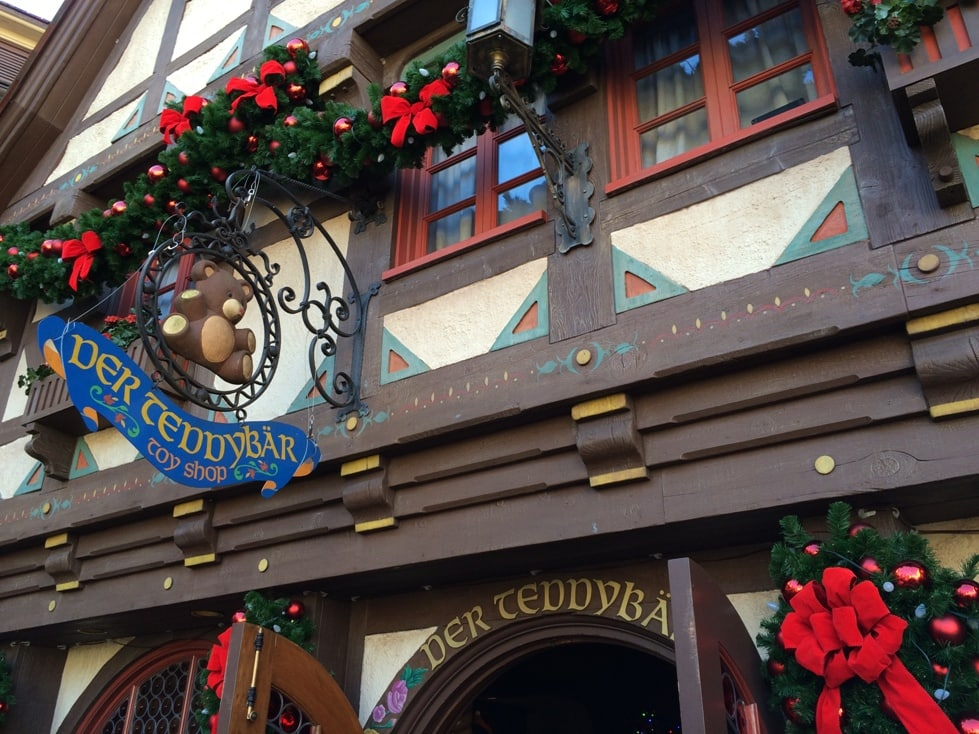 A Teddy Bear store sign in Disney's Germany Pavilion.