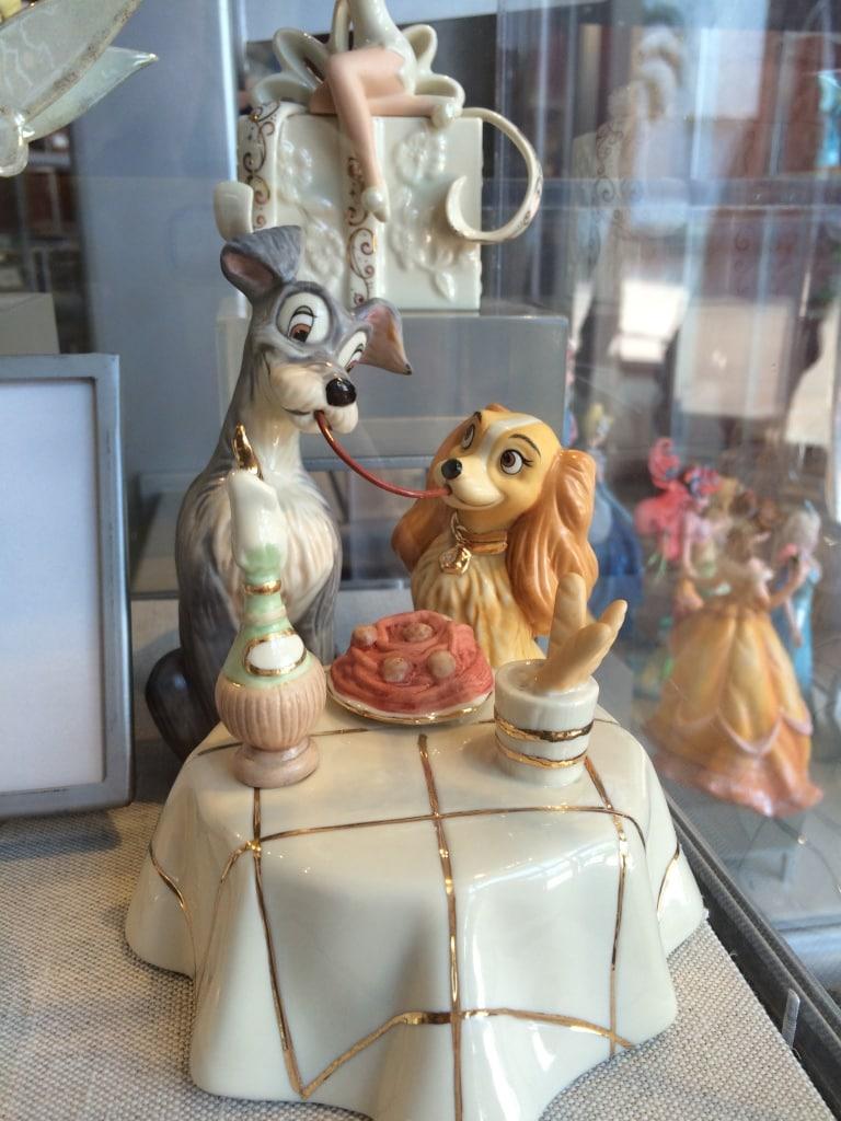 Lady and Tramp Lenox Spaghetti Scene Valentines Day China Figurine Statue