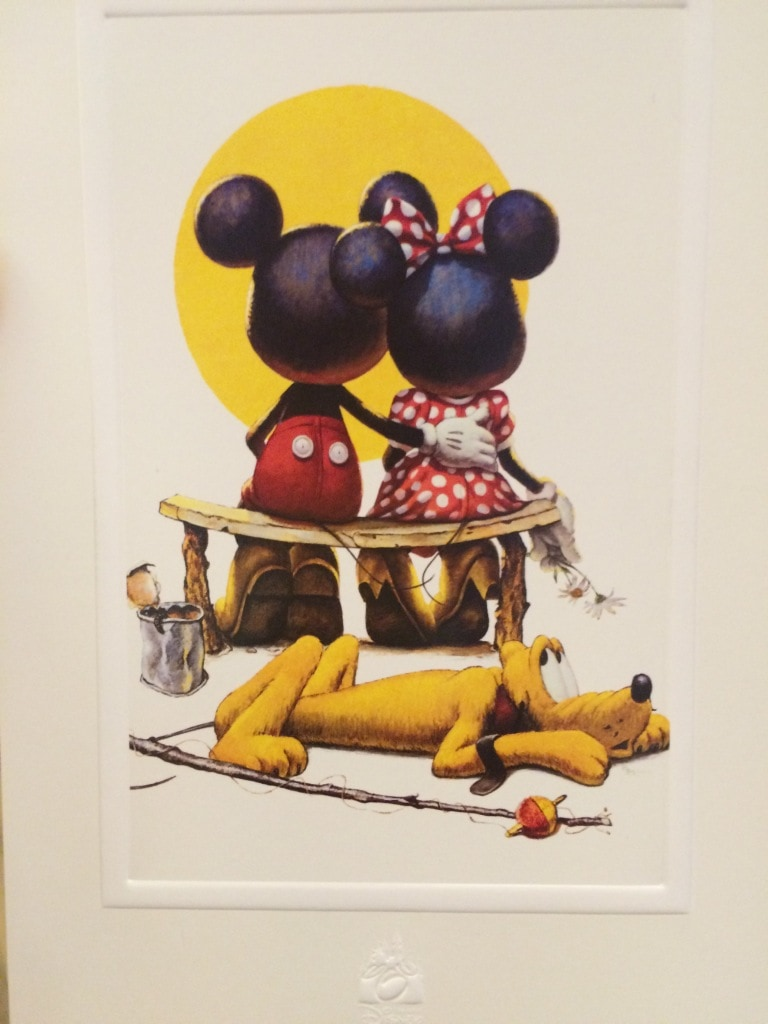 Mickey and Minnie Sitting on Park Bench With Pluto Postcard Valentines Day Walt Disney World Love