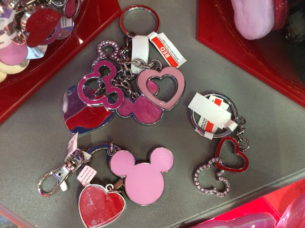 Disney Valentines Day Keychains Heart Mickey Mouse Head Pink Red