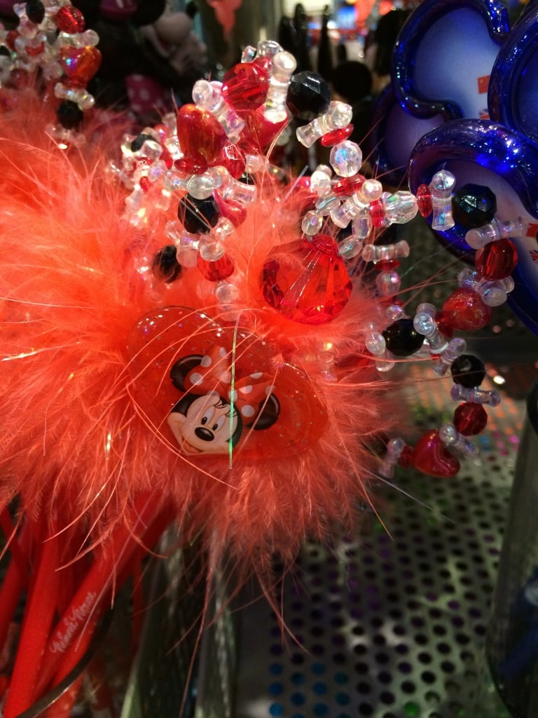 Minnie Mouse Feathery Pen with Heart and Jewels Valentines Day Disney Kids