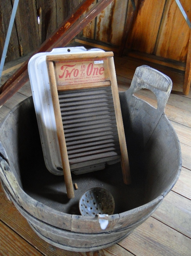 Old Fashioned Laundry Tub and Scrubber