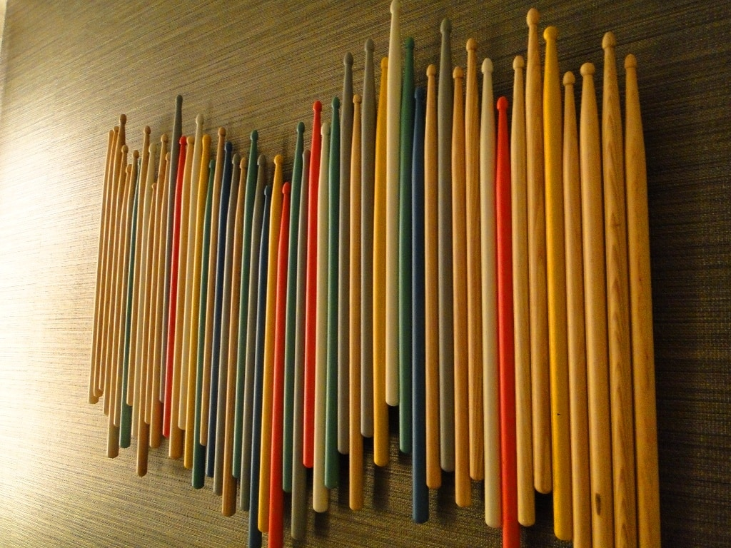Wall art made of drumsticks