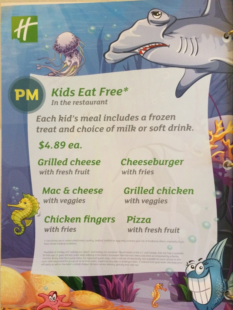 Holiday Inn Titusville Kids Eat Free Menu Promotion Dinner