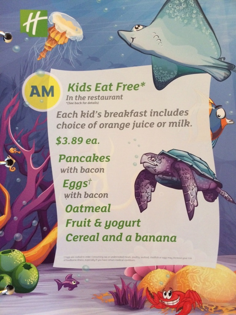 Holiday Inn Titusville Kids Eat Free Menu Promotion