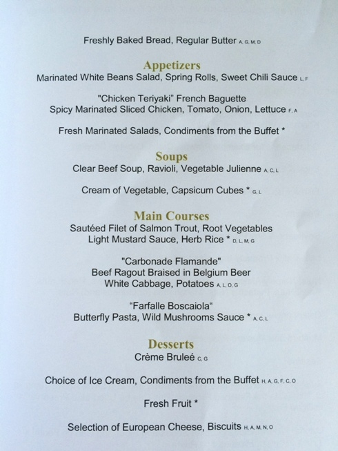 Day Four Lunch Menu