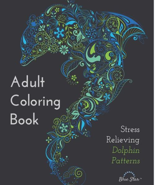 Adult Coloring Book Dolphin Blue Star Stress Relieving Patterns