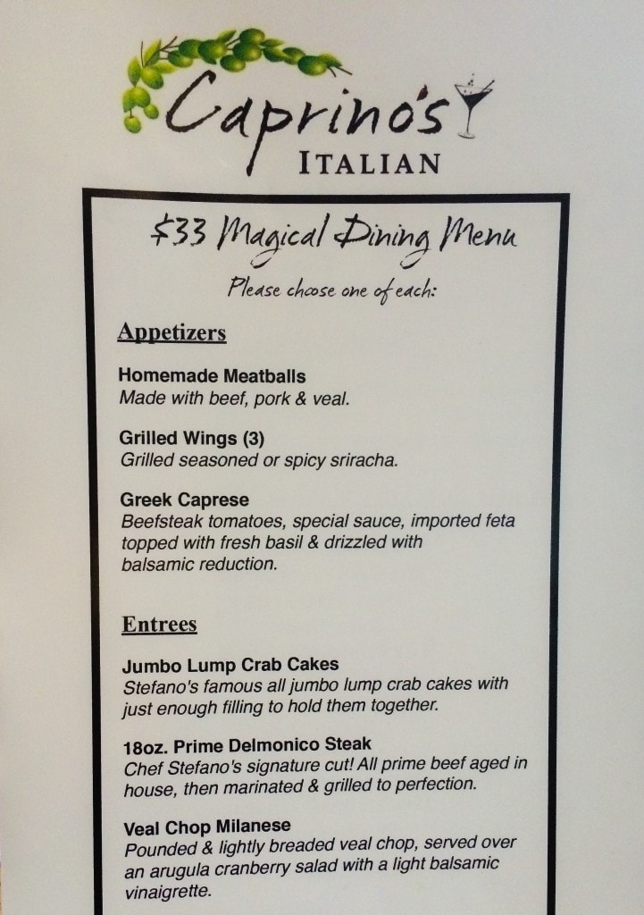 Caprino's Magical Dining Menu Orlando