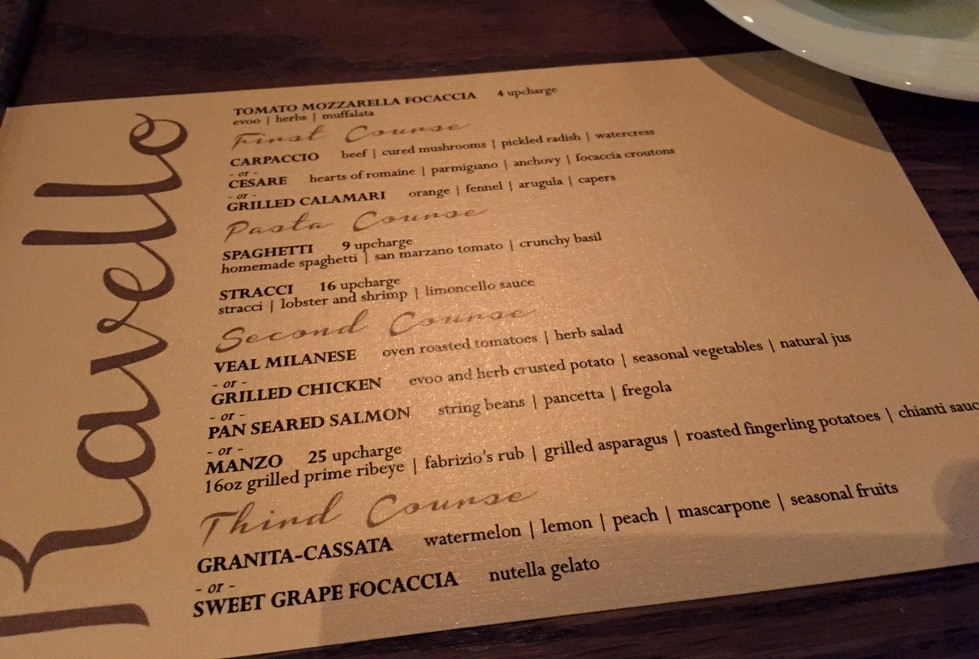 Ravello Magical Dining Menu Orlando