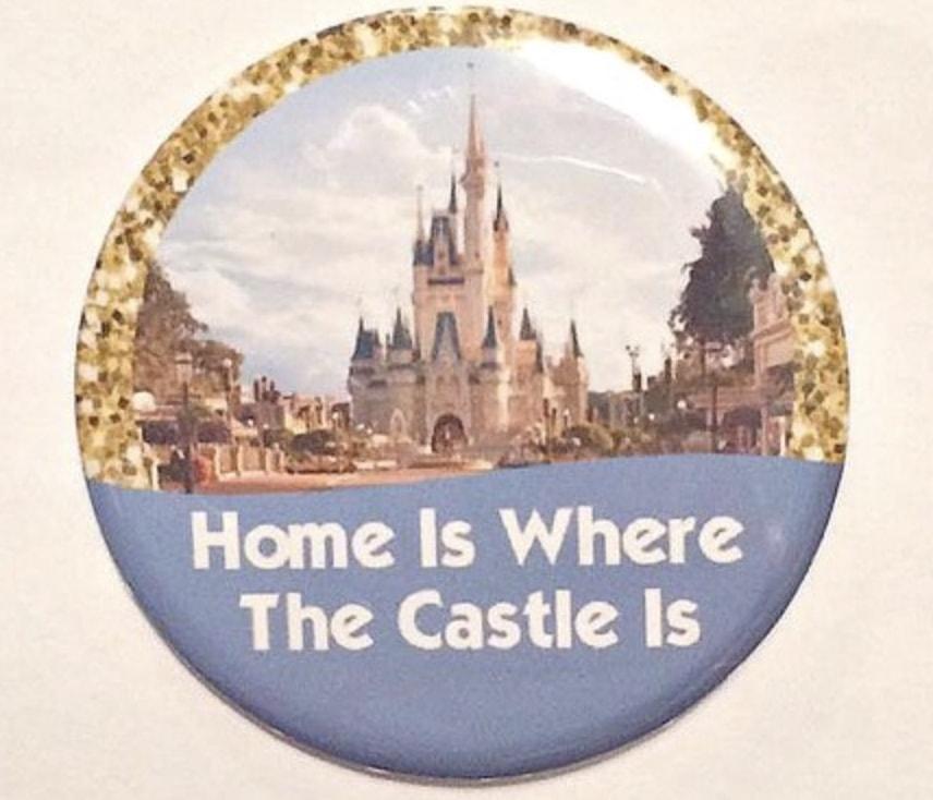 Magic Kingdom Cinderella castle with gold glitter button