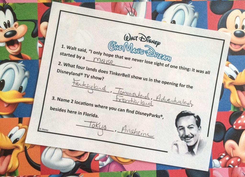 Walt Disney One Mans Dream Scavenger Hunt Honorary Citizen