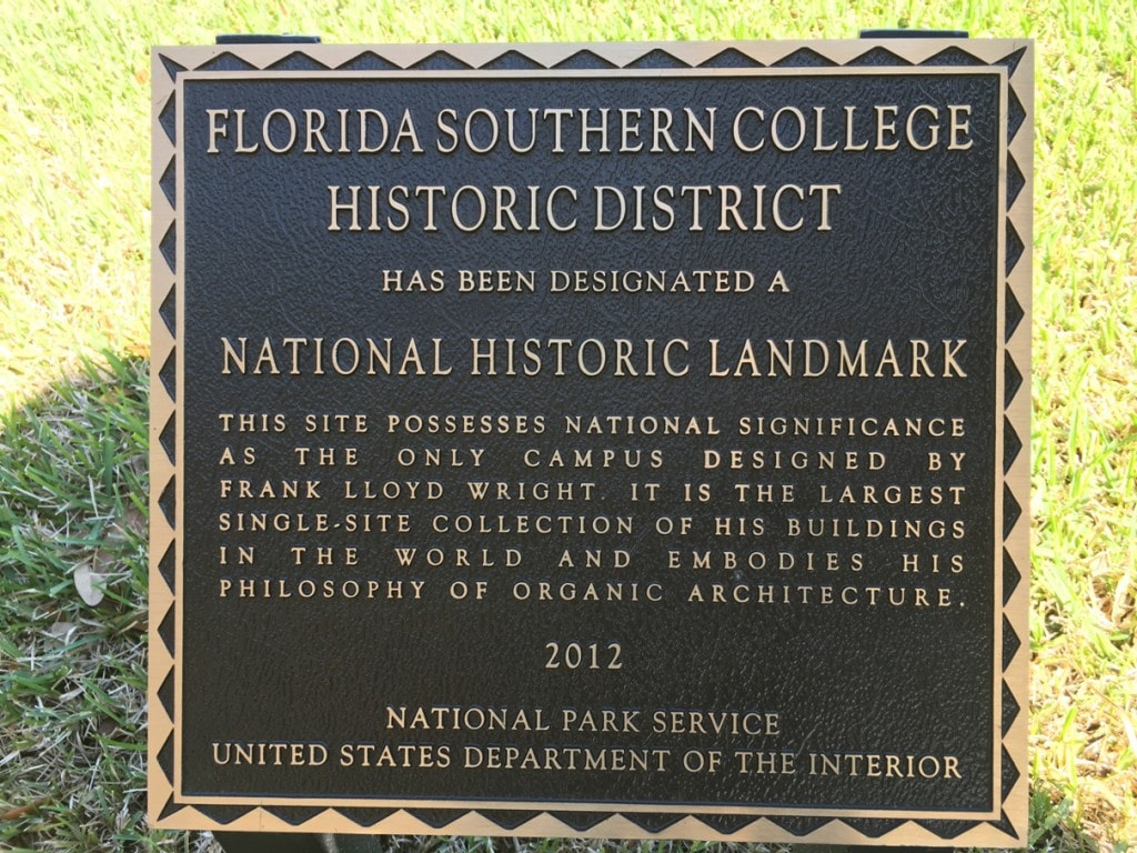 Frank Lloyd Wright Architecture Florida Southern College Campus National Historic Landmark Sign