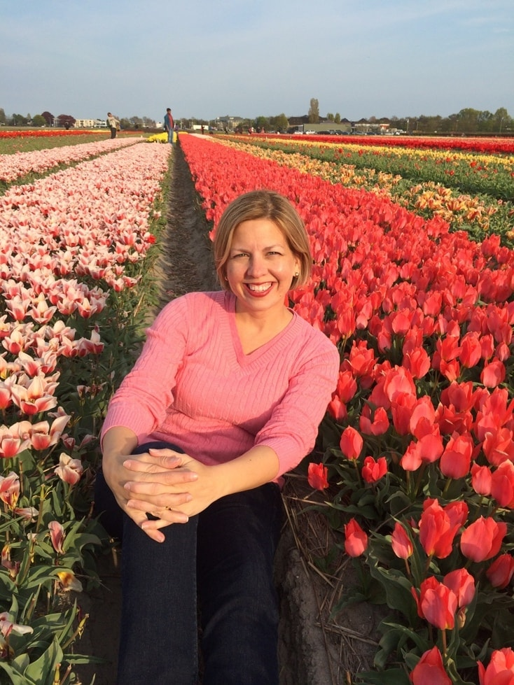 Posing for Pictures in Tulip Fields in Amsterdam