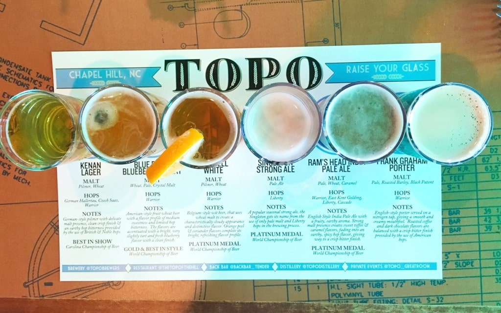 Top of the Hill Restaurant and Brewery Chapel Hill Beer Flight