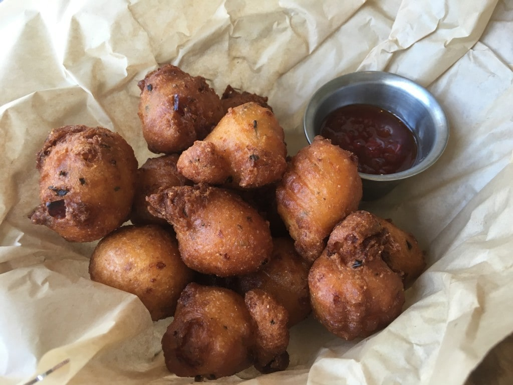 Pimento Cheese Hush Puppies with Red Pepper Jelly