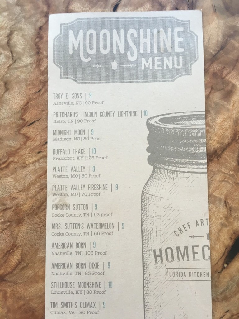 Moonshine Menu