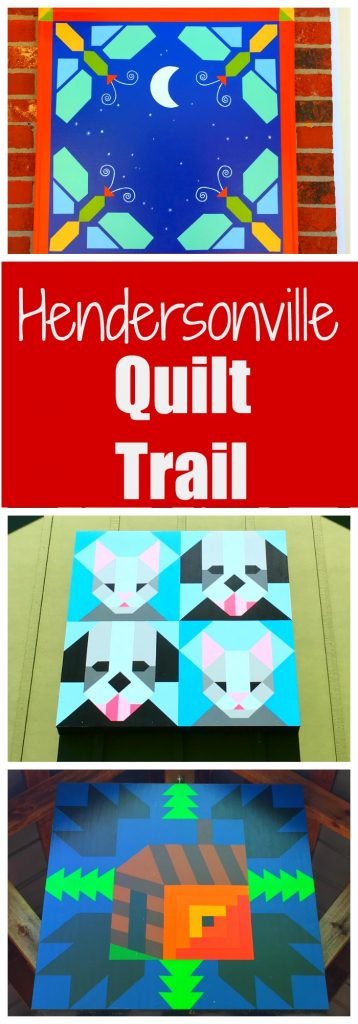Quilt block trail in the mountain town of Hendersonville, NC.  Like a scavenger hunt for adults! See the cute quilt artwork to be found throughout western North Carolina near Asheville.