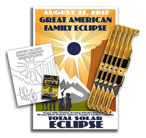 poster coloring pages and solar eclipse viewing glasses