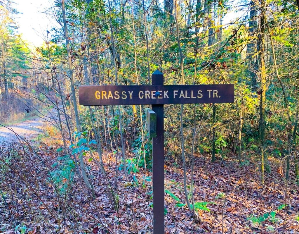 grassy creek waterfall sign Dupont state forest