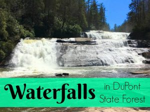 Waterfalls in DuPont State Forest in NC. These North Carolina waterfall hikes are spectacular! Which one of these beautiful attractions would you like to see first? They're all FREE to go to! Perfect family or weekend adventure.