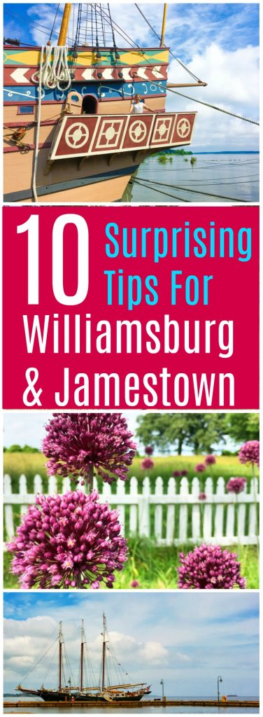 Colonial Williamsburg, Jamestown and Yorktown in Virginia are historical destinations. There are some surprising travel tips for the vacation destination. Save money and save time with these ideas! #Virginia #Williamsburg #Jamestown #Travel #JamestownVA