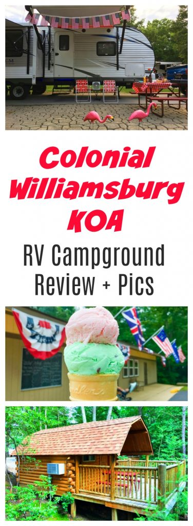 Colonial Williamsburg KOA is the perfect place to stay near Jamestown, Busch Gardens or Yorktown in Virginia. Whether you need an RV campground or want to rent a cabin, yurt or tent campsite, check out all of these pics of the resort and our review.