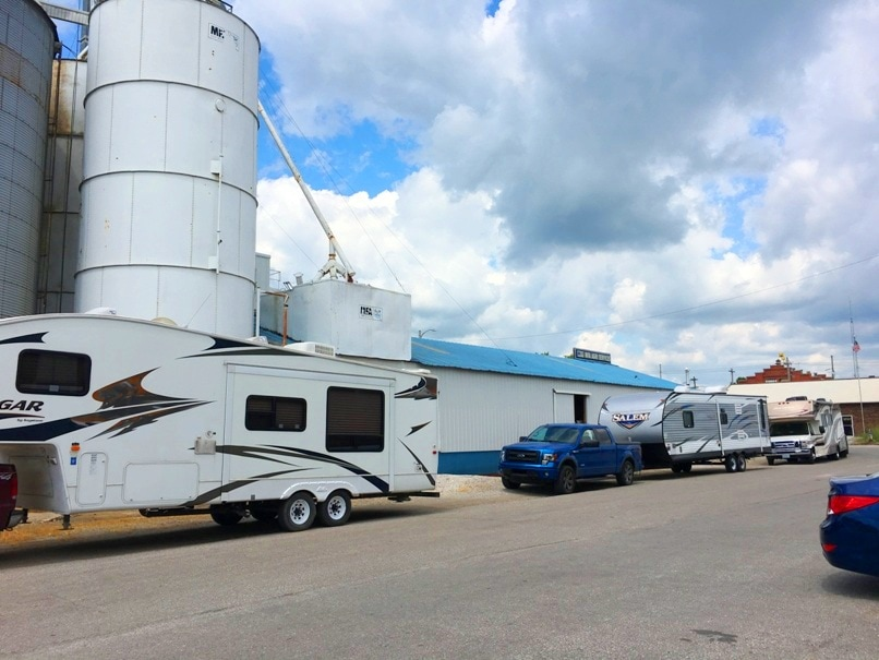 What the RV Parking is like at Walt Disney Hometown Museum Marceline, Missouri.