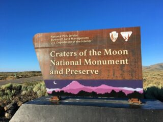 Craters of the Moon National Monument and Preserve sign in Idaho
