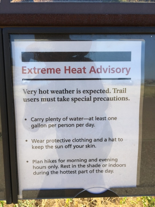Extreme Heat Advisory Sign in Theodore Roosevelt National Park