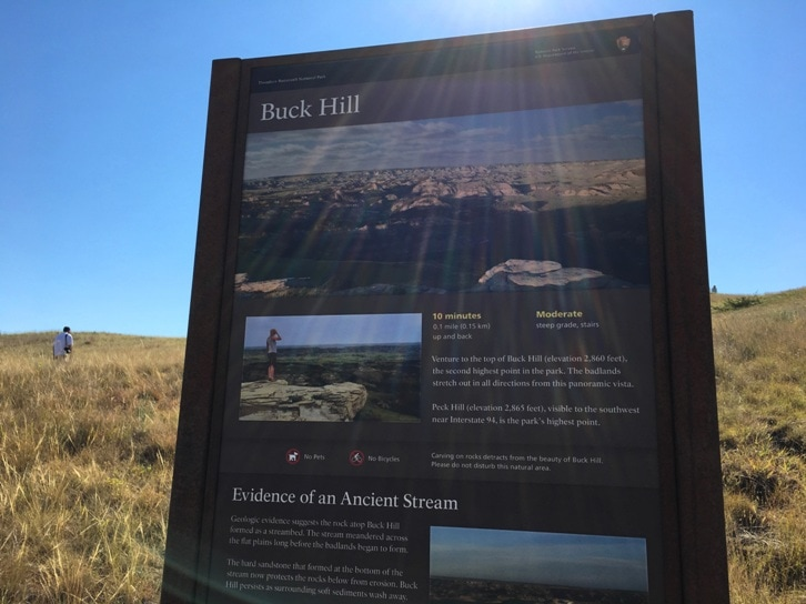 Buck Hill sign at Theodore Roosevelt National Park