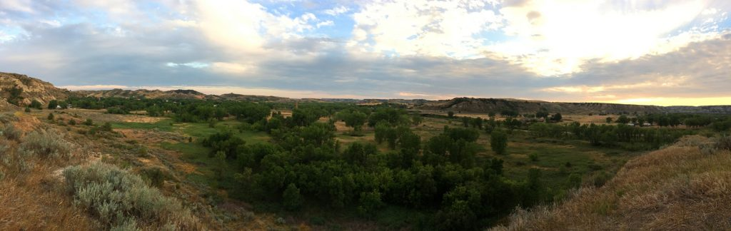 panoramic view of badlands in north dakota
