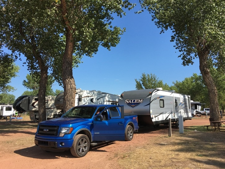 Medora Campground RV site North Dakota Badlands