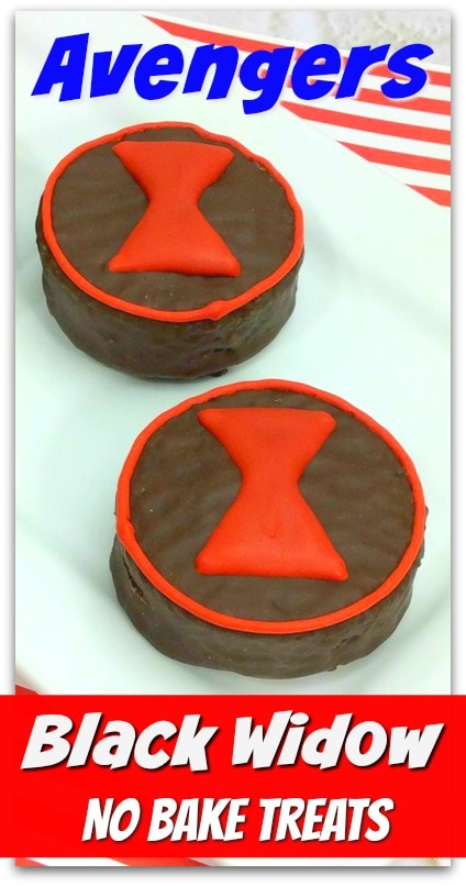 chocolate mini cakes with an hourglass black widow logo