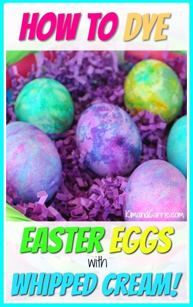 Basket of Easter Eggs in rainbow swirl colors