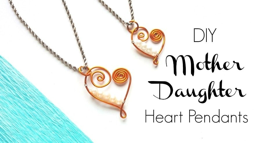 Gold wire heart pendants matching mother daughter necklaces with pearl beads