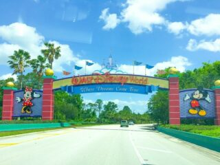 welcome gates into walt disney world with castle minnie mouse mickey mouse