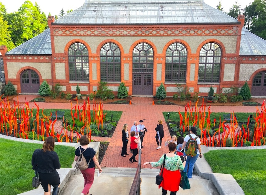 Biltmore Conservatory with Chihuly red reeds glass sculptures
