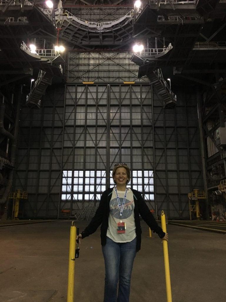 Kim inside the VAB