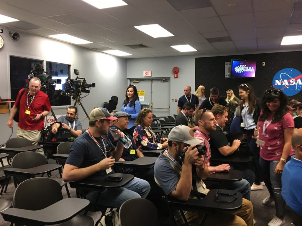 Crowd in a NASA Social TV Studio