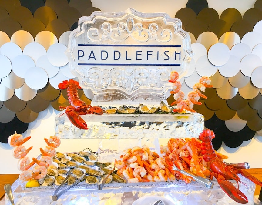 fresh seafood on a carved ice display at paddlefish orlando
